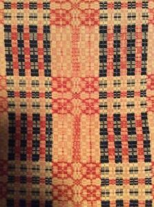 Antique Early Hand Woven Textile Jacquard Wool Linen Coverlet Blanket 76 X 75