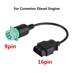 9 16 Pin Obd2 Truck Diagnostic Scanner Cable Adapter For Cummins Diesel Engine