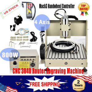 800w 4 Axis 3040 Cnc Router Engraver Drilling Machine Water cooling Mach3 Cutter