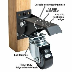 Heavy Duty Retractable Workbench Casters Durable All Steel Electrocoating