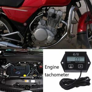 Digital Rpm Tach Hour Meter Tachometer Gauge Spark Plug For Motorcycle D