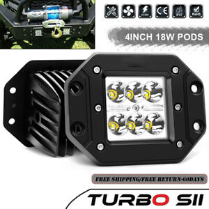 Dually Flush Mount Projector Led Pod Lights For Truck Ford Off Road Atv 3x3 Inch