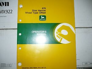 John Deere Operators Manual For 670 Disk Harrow Wheel Type Offset