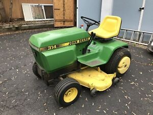 John Deere 314 317 Tractor W Fully Hydraulic Angled Snow Plow Belly Mower