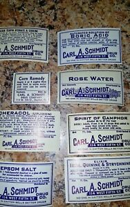 Lot Of Eight Pharmacy Apothecary Medicine Bottle Labels Carl A Schmidt Dayton
