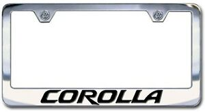 Chrome Engraved Toyota Corolla License Plate Frame Set Block Lettering Qty 2