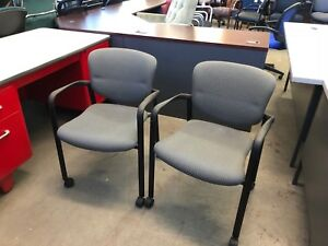 Lot Of 2 Guest Side Chairs W Arms Casters By Haworth Office Furniture