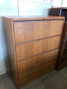 4 Drawer Lateral Size File Cabinet By Steelcase Office Furniture In Med Oak Wood