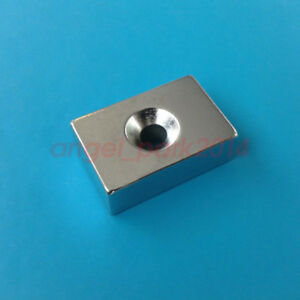 Lots 30x20x10mm Block Rare Earth Neodymium Strong Magnets N50 Countersunk 5mm