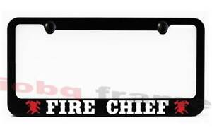 Fire Chief Firefighter Fire Man Black Metal License Plate Frame Screw Caps