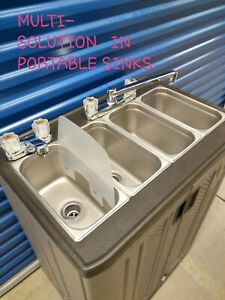 Portable Sink Mobile Concession 4 Compartment With Hot And Cool Water 110v