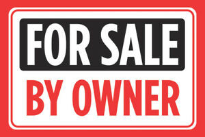 For Sale By Owner Print Red Sell Window Poster Real Estate Car Auto Sign 12x18