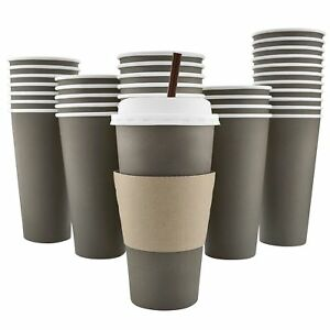 100 Pack 20 Oz 8 12 16 Disposable Hot Paper Coffee Cups Lids Sleeves