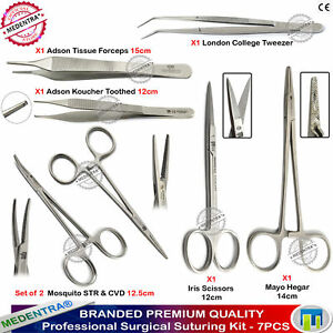 Suture Practice Kit Veterinary Iris Scissors Mayo Hegar Mosquito Forceps Tweezer
