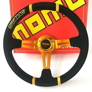 350mm Black Suede Leather Deep Dish Steering Wheel For Momo Drifting Gold Spoke