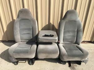 99 10 Ford F350 Super Duty Front Bench Seats Grey Cloth F250