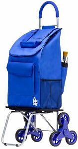 Bigger Trolley Dolly Stair Climber Blue Grocery Foldable Cart Condo Apartment