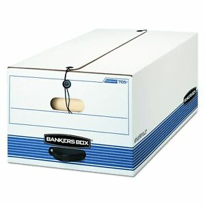 Bankers Box 00705 Stor file Storage Box Button Tie Legal White blue case Of