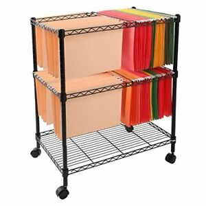 Finnhomy Sturdy 2 tier Metal Rolling File Cart For Letter Size And Legal Size