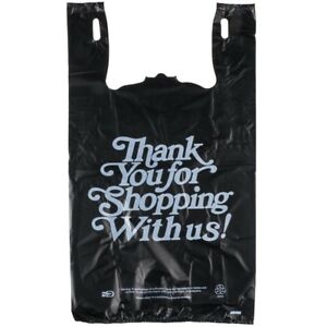 2000 Qty Plastic Black T shirt Bags Heavy Duty Oversized thank You 13 x10 x23