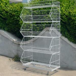 5 Tier Free Standing White Basket Unit Stands For Retail Shop Display