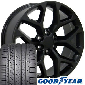 22 Rims Tires Fit Gm Chevy Sierra Silverado Satin Black Wheels Gy Tires 5668