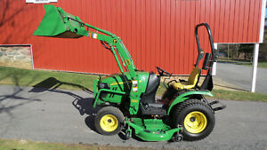 2012 John Deere 2320 4x4 Compact Utility Tractor W Loader Mower Hydro 251 Hrs