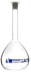 2000ml Class A Volumetric Flask With Acid Proof Polypropylene Stopper