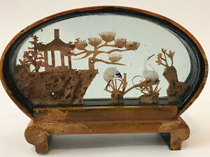 3 3 4 Antique Chinese Wood Carving In Oval Frame Stand