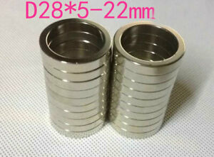 28mm X 5mm Hole 22mm Disc Ring Round Rare Earth Neodymium Magnets N50