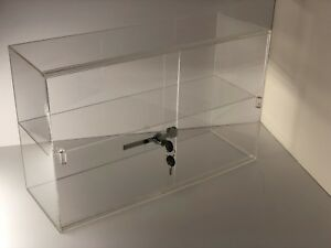 Jewelry Acrylic Display Showcase 21 1 4 x7 1 2 x13 1 4 h Sliding Door 2 Shelves