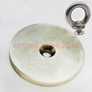 D80mm X 10mm Hole Salvage Disc Strong Rare Earth Neodymium Magnets Pull Ring