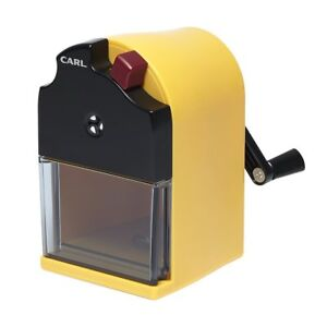 Carl Japan Cms 110 y Ein Hand cranked 2 step Pencil Sharpener Yellow