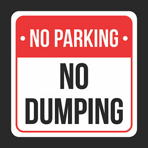 No No Dumping Print Black And Red Plastic Square Sign 4 Pk Of Signs 12x12