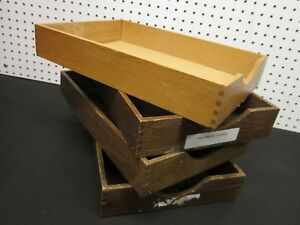 Lot 4 Vintage Wood Desk Organizer Tray Dovetail Wood Office In Out Box Letter 1