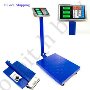 New 660lbs Lcd Ac Digital Floor Bench Scale Postal Platform Shipping 300kg Weigh