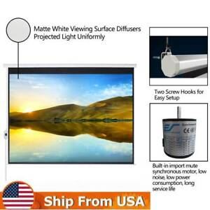 100 Electric Motorized Remote Projection Screen Hd Movie Projector 16 9 White