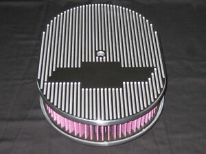 Ghost Bowtie Chevy Or Ford 12 Inch Oval Air Cleaner T 6061 Aluminum K n Filter