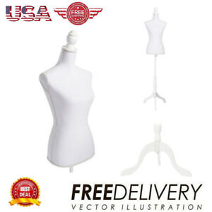New Female Mannequin Torso Dress Form Display W White tripod Stand Clothing Us
