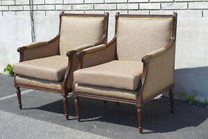 Pair Of Walnut French Louie Xvi Living Room Chairs Newly Upholstered