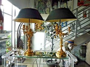Fine Pair Of 19th C French Louis 16th Style Dore Bronze Bouillotte Lamps