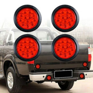 4pcs Red 12led 4in Round Truck Trailer Brake Stop Turn Tail Lights Submersible