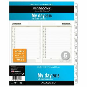 At a glance Day Runner Daily Planner Refill One Page Per Day January 2018 X