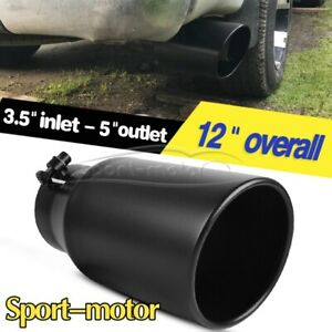2 5 Inlet 3 Outlet 6 Long Slant Cut Rolled Edge Chrome Exhaust Tip Tail Pipe