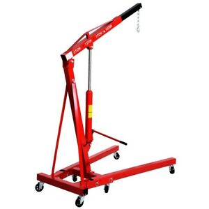 4000lb 2 Ton Engine Motor Hoist Cherry Picker Shop Crane Lift Steel Red Tool Us