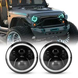Cree Rgb Halo Ring 7 Inch Bluetooth App Led Headlights Jeep Wrangler Jk Cj Tj