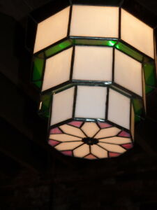 Pr Of 50 S 60 S Hanging Color Glass And Lead Lanterns