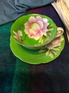 Pink Rose On Green K Hand Painted Cup Saucer Japan