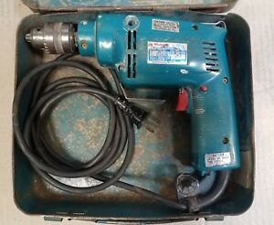 Makita 10mm Hammer Drill Hp1030 Variable Speed W Metal Case Chuck Handle Tested