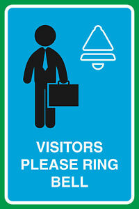 Visitors Please Ring Bell Print Working Man Home Office Business Sign 6 Pack